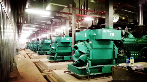 Diesel generator set fuel system and intake and exhaust system
